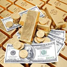 Фотографии Золото Деньги Монеты Слиток