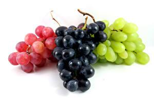 Обои Виноград Белом фоне Разноцветные Пища