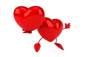 Фотография Сердце Красные Белый фон Двое 3D Графика