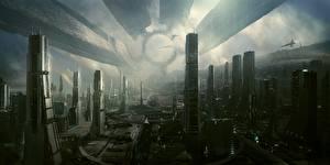 Картинка Здания Фантастический мир Hi-Fi Фантастика Города