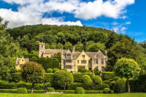 Картинки Здания Ландшафтный дизайн Англия Особняк Кусты Деревья Stroud