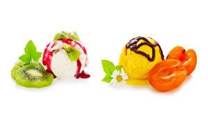 Обои Мороженое Абрикос Киви Шоколад Ромашка Белом фоне Шар Пища