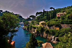 Обои Италия Лигурия Дома Пирсы Заливы Portofino Города