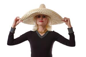 Фотография Украшения Белым фоном Блондинки Шляпе Руки Взгляд молодые женщины