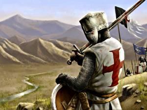 Фотографии Рыцарь Шлем Доспехи Крест Crusader Фэнтези