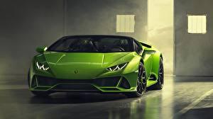 Картинка Lamborghini Зеленые Спереди Spyder Huracan Evo 2019 машины