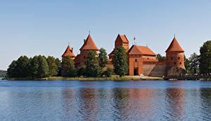 Обои Литва Замок Озеро Castle Trakai