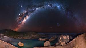 Картинка Млечный Путь Небо Побережье В ночи Природа