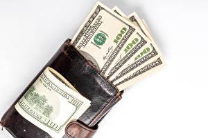 Обои Деньги Купюры Доллары Белом фоне Кошелёк