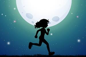 Картинки Луны Силуэт Бежит Девочка Ночь ребёнок
