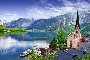 Фото Горы Озеро Церковь Пристань Речные суда Австрия Халльштатт Hallstatt lake, Salzkammergut region город