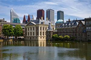 Картинка Нидерланды Здания Водный канал Hague