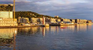 Фотографии Осло Норвегия Здания Пирсы Залив город
