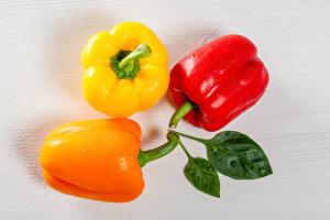Фотографии Перец овощной Вблизи Трое 3 Разноцветные Продукты питания