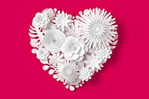 Фото Красном фоне Сердечко цветок