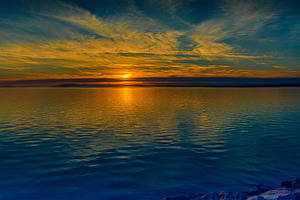 Фотография Речка Рассветы и закаты Природа