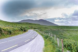 Фотография Дороги Ирландия Трава Забор Ring of Kerry Природа