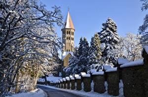 Картинки Дороги Зимние Церковь Люксембург Снега Башни Clervaux город