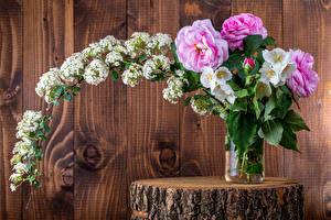 Обои Розы Букет Морозник Доски Стена Ветки Цветы