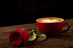 Обои Роза Капучино Кофе Чашке Сердце Пища