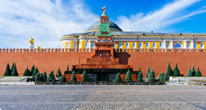 Фотографии Россия Москва Дома Городской площади Ели Lenin Mausoleum город
