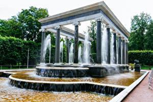 Фотография Россия Санкт-Петербург Парк Фонтаны Дизайна Колонны Peterhof Природа