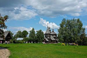 Фотографии Россия Храмы Церковь Музеи Деревьев Трава Suzdal Vladimir Oblast