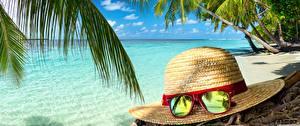 Картинка Море Тропический Пляжа Пальмы Шляпе Очках Природа