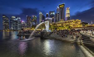 Обои Сингапур Парк Здания Вечер Фонтаны Скульптуры Лестницы Merlion Park