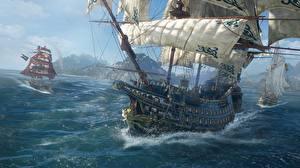 Картинки Skull and Bones Корабли Парусные Игры