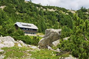 Фотография Словения Горы Здания Камни Альп Ель Julian Alps Природа