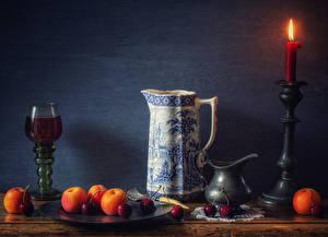 Фотография Натюрморт Свечи Вино Абрикос Черешня Стенка Кувшины Бокал Пища