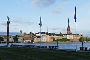 Фото Стокгольм Швеция Набережная Флага город