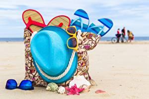 Обои Лето Сумка Шляпы Сланцы Пляж Очков