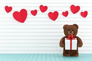 Фотография Мишки День всех влюблённых Сердца Подарков