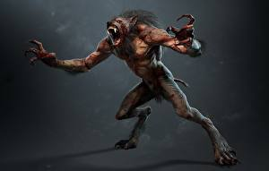 Фото The Witcher 3: Wild Hunt Вервольф Чудовище Когтями lycanthrope lycan werewolf компьютерная игра