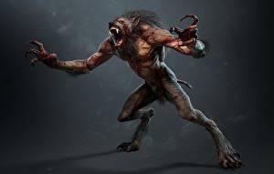 Фото The Witcher 3: Wild Hunt Вервольф Чудовище Когтями lycanthrope lycan werewolf компьютерная игра 3D_Графика