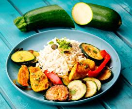 Картинки Вторые блюда Рис Овощи Кабачки Тарелке Пища