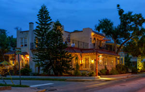 Фото Америка Дома Вечер Флорида Улице Уличные фонари Ели Saint Augustine Beach Города