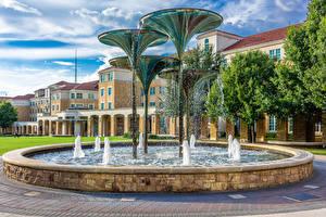 Обои для рабочего стола США Здания Фонтаны Техас Дизайн С брызгами Fountain in Fort Worth город