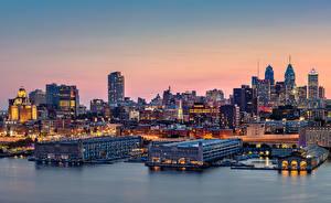Фотографии Америка Дома Пирсы Вечер Пенсильвания Philadelphia Города