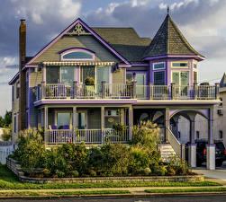 Обои США Дома Особняк Дизайн Кустов Забора New Jersey город