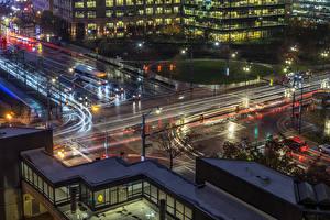 Картинки США Здания Дороги Вечер Уличные фонари Columbus Ohio город