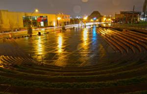 Обои Америка Дома Вашингтон Городская площадь Лестницы Ночные Уличные фонари Tollefson Plaza Tacoma Города