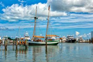 Картинка Штаты Пирсы Корабли Парусные Флорида Залив Key West Природа