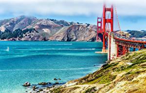 Картинка Штаты Гора Речка Мосты Сан-Франциско Природа