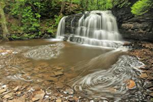 Картинка США Парки Водопады Камни Утес Hiawatha National Forest Michigan Природа