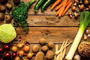 Фото Овощи Картошка Капуста Морковка Лук репчатый Грибы Доски