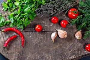 Фотография Овощи Томаты Острый перец чили Чеснок Укроп