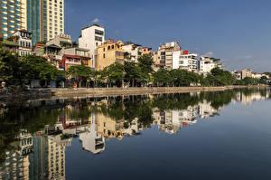 Обои Вьетнам Здания Река Отражение Hanoi город
